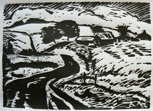 Glidden Road, Waverly by Karl Marxhausen, 5 by 7 inch one color woodcut